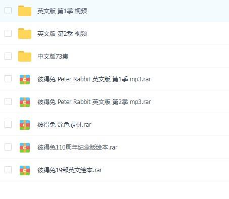 彼得兔/比得兔 Peter Rabbit 英文版&中文版1-2季